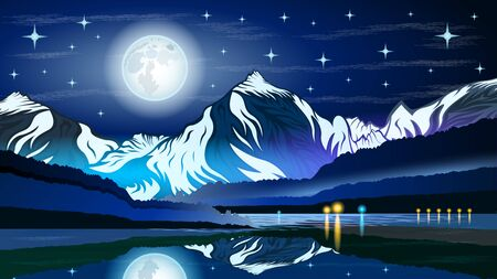 High mountains and calm lake water landscape with forest slopes and snowy peaks. Huge full moon against the starry sky. Beautiful landscape vector  illustration