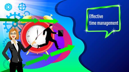 Effective time management banner. Alarm clock, direction arrows, gears. Running businessman and with a briefcase in the sunlight. Business woman points hand. Vector Illustration