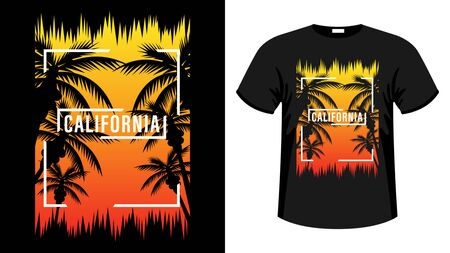 California print t-shirt. The slogan on the backdrop of palm trees and sunset. Beautiful vector illustration