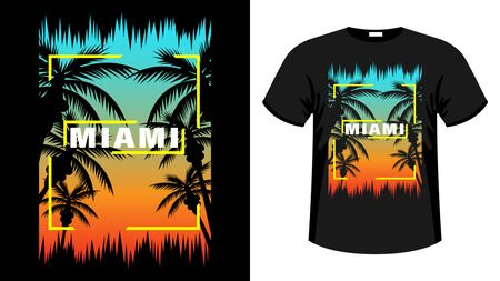 Miami print t-shirt. The slogan on the backdrop of palm trees and sunset. Beautiful vector illustration