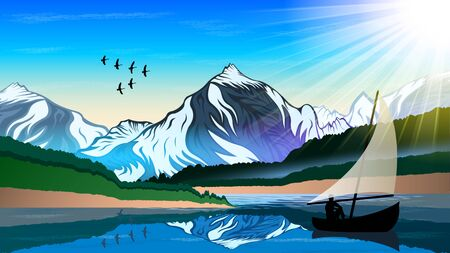 High mountains and calm lake water landscape with forest slopes and snowy peaks. Silhouette of a man sitting in a boat with a sail. A flock of birds flying wedge. vector  illustration
