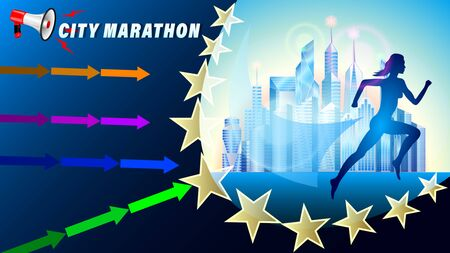 City Marathon banner, poster. Silhouette of a running woman against a city of skyscrapers. Megaphone and direction arrows. Realistic 3d vector illustration Illustration