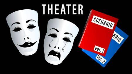 máscaras teatrales, comedia y tragedia. Escenario, carpetas de secuencias de comandos aisladas sobre fondo negro. Ilustración de vector horizontal 3d realista