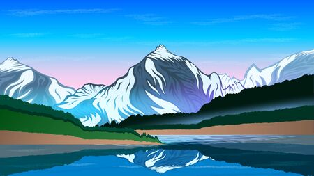 High mountains and calm lake water landscape with forest slopes and snowy peaks. Beautiful Natural landscape vector  illustration