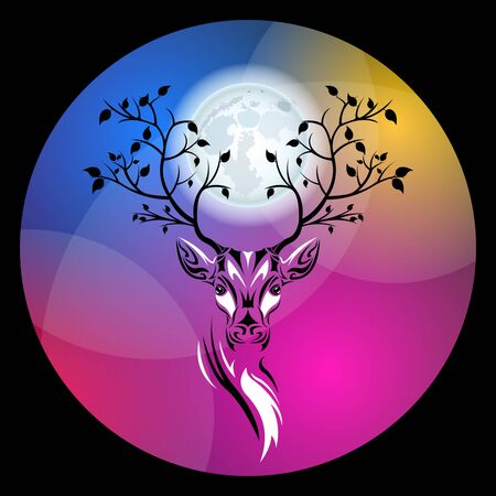 Tribal patterns head of deer with branches trees with leaves on the horns against a huge full moon, totem and tattoo design. Use for print, posters, t-shirts. Fairy fantasy vector Illustration Illustration