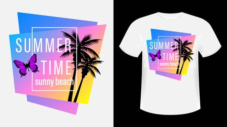 Summer time, Sunny beach print t-shirt. The slogan on the backdrop of palm trees and sunset. Flying butterfly. Beautiful vector illustration