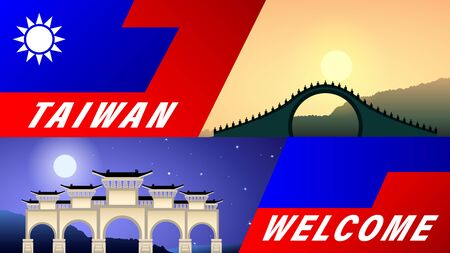 Welcome to Taiwan. Arch at night under the full moon. Moon bridge at sunset. Stylized flag of Taiwan. Tourist banner, vector, illustration