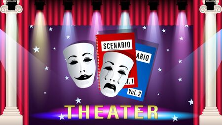 Theatrical mask, script, scene. In the theatre under the light of the spotlight. Beautiful marble columns. Realistic 3d horizontal Vector Illustration