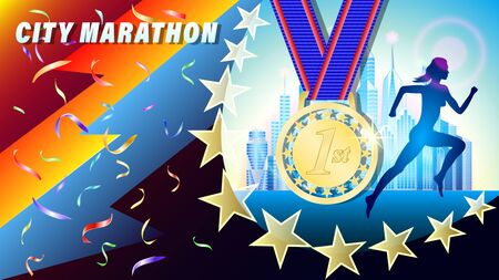 City Marathon golden medal for 1st place banner, poster. Silhouette of a running woman, against a city of skyscrapers. Falling confetti. Realistic 3d vector illustration Illustration