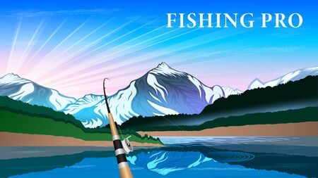 Fishing rod on the background of a beautiful natural landscape. Mountains, snowy peaks, quiet river, Sunny dawn. Realistic horizontal banner vector, illustration.
