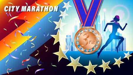 City Marathon bronze medal for 1st place banner, poster. Silhouette of a running woman, against a city of skyscrapers. Falling confetti. Realistic 3d vector illustration