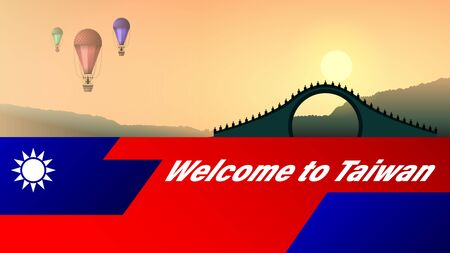 Welcome to Taiwan. Moon bridge at beautiful sunset in the evening. Flying balloons. Stylized flag of Taiwan. Tourist banner. Realistic horizontal vector, illustration