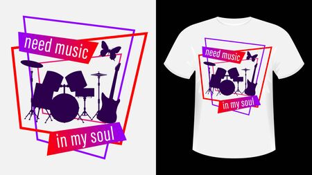 Music print t-shirt slogan. Musical instruments: drum set and electric guitar on a beautiful abstract background. Colorful vector illustration.