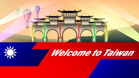 Welcome to Taiwan. Arch illuminated by multicolored spotlights at beautiful sunset and flying colorful balloons. Stylized flag of Taiwan. Tourist banner, vector, illustration Illustration