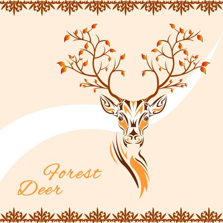 Tribal patterns head of deer with branches trees with autumn leaves on the horns, totem and tattoo design. Use for print, posters, t-shirts. Fairy fantasy vector Illustration