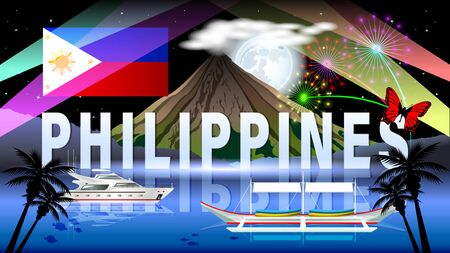 The Philippine tourism landscape. Night composition with beautiful sea views, a volcano, a boats and a full moon. Philippine flag. Horizontal vector illustration. 矢量图像