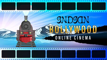 Indian Bollywood Online Cinema. Film footage. Old steam Locomotive, front view. Beautiful mountain landscape, snowy peaks, quiet river, Sunny dawn. Realistic horizontal homepage banner vector.