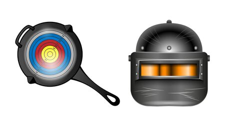 Pan with the target and an armored helmet black with visor, front view isolated on a white background. Realistic banner, poster vector illustrations.