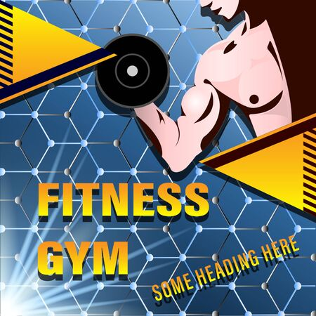 Fitness Gym Poster, Cover. Muscular man, the athlete grips the dumbbell on the background of the molecular lattice. Gradient geometric shapes with text. Sport vector illustration Stock Illustratie