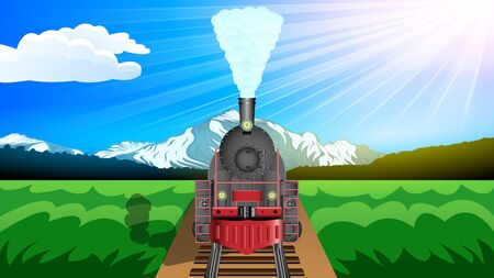 Old steam Locomotive, front view. Beautiful mountain landscape, snowy peaks, green valley, Sunny day, Blue sky. Realistic horizontal banner vector. Ilustração