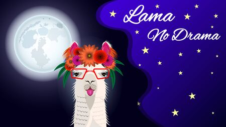 The head Lama in glasses and with a floral wreath, front view on a beautiful background of starry sky and full moon. Inscription Lama no Drama. Vector Illustration Imagens - 128899496