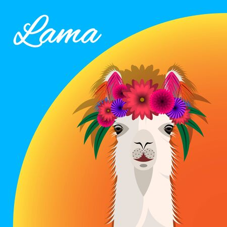 The head Lama with a floral wreath, front view. Cute bright realistic Vector Illustration Imagens - 128899502