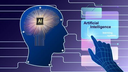 Artificial intelligence, Ai. The human electronic brain with a chip in profile. Metal human head side view and hand controlling virtual screens. vector illustration.