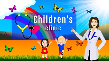 Woman doctor and children, little boy and girl. Lawn under the sun and rainbow. Fluttering butterfly. Children play outdoors. Horizontal cartoon vector illustration.