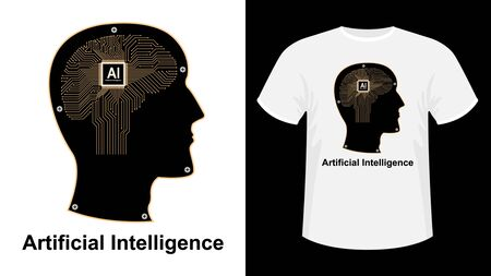 Artificial intelligence, Ai print t-shirt. The human electronic brain with a chip in profile. Metal human head side view. vector illustration. 向量圖像