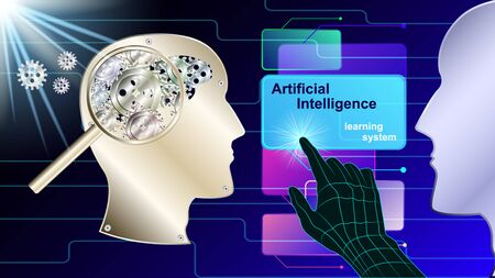 Artificial intelligence, Ai. The human mechanical brain in the form of gears in profile. Metal human head side view under the study of magnifying glass. vector illustration.