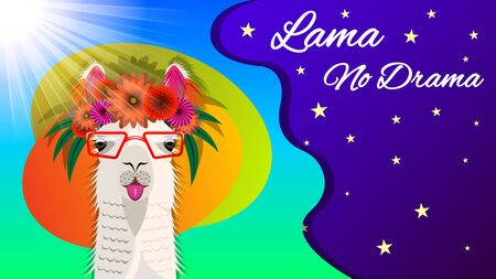 The head Lama in glasses and with a floral wreath, front view on a beautiful background of starry sky and sunlight. Inscription Lama no Drama. Vector Illustration