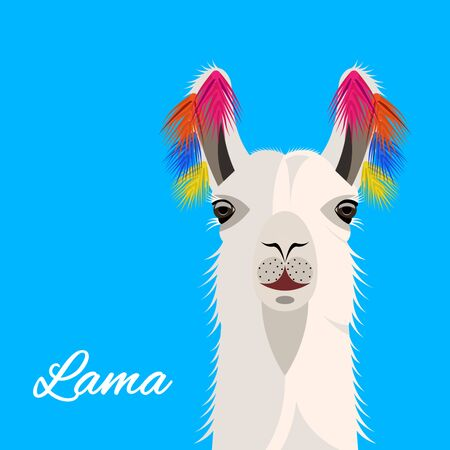 The head Lama with colored tassels on the ears, front view. Cute bright realistic Vector Illustration Imagens - 128899855