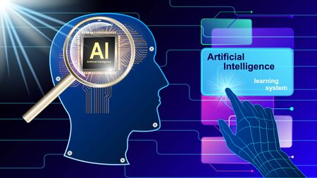 Artificial intelligence, Ai. The human electronic brain with a chip in profile, under the magnifying glass. Metal human head side view and hand controlling virtual screens. vector illustration.