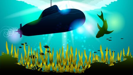 Realistic Submarine and shark under the water among the corals and algae, in the sunlight. Light effects at the bottom of the sea. Beautiful photorealistic vector illustration of the underwater world. Ilustração