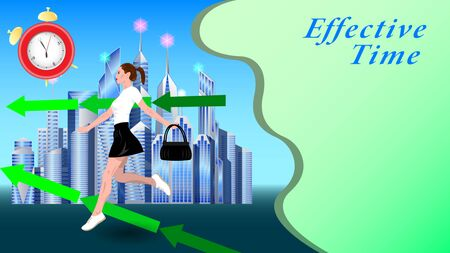 A young woman, girl in a short skirt, with a handbag in her hand, running down the street against the background of a modern city, skyscrapers. Effective Time. Horizontal banner vector, illustration. Illustration
