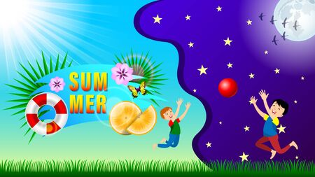 Summer Composition banner day and night. Children playing with a ball on a green grass. Sun and clear blue sky, Full Moon in starry sky. Summertime horizontal vector, illustration.