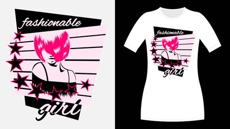 Fashionable Girl inscription print T-Shirt. The Face with the pink bangs covering the eye. Stars in a circle. Women with pink hairstyle quads. Vector illustration Çizim