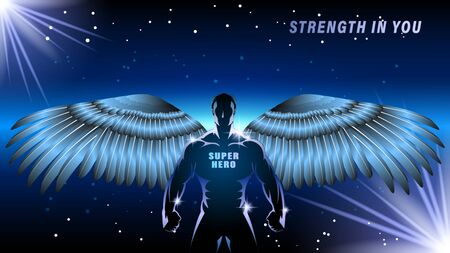 Superhero with wings on a dark backgrond. Silhouette athlete, brawny man, angel on a black background. Light effect in the Night. Horizontal banner vector illustration