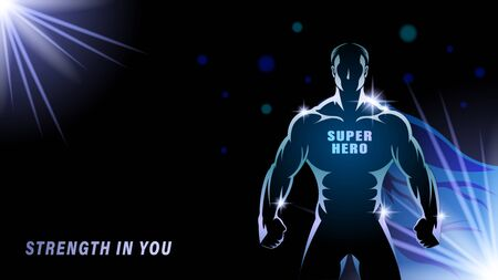 Superhero on a dark backgrond. Silhouette gold athlete, brawny man with the blue cloak on a black background. Light effect in the Night. Horizontal banner vector illustration