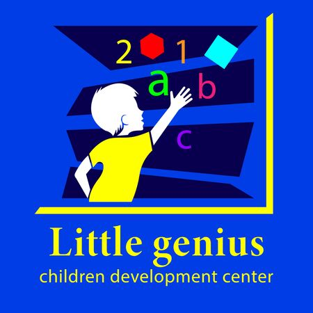 Little Genius, Children development center logo. Little boy lays out letters, numbers and shapes. Flat design vector illustration Ilustração