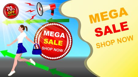 A young woman, girl in a short skirt, with a handbag in her hand, runs against the blue sky. Realistic megaphone, Mega sale, shop now, big discount. Horizontal advertising banner vector, illustration. Ilustração