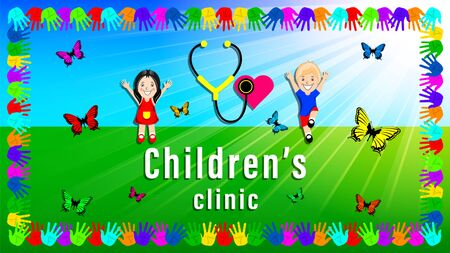 logo pediatrician children clinic. Little boy and girl play outdoors. Heart and stethoscope symbol. Frame of colored palm prints. Fluttering butterfly. Horizontal cartoon vector illustration. Ilustração