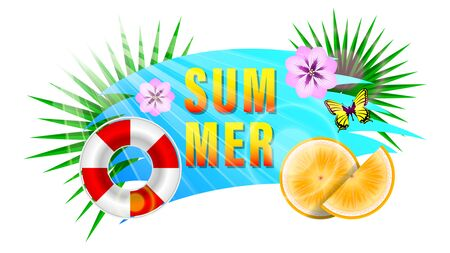 Summer Composition banner.  Lettering Summer, Cut orange into slices, purple flowers, butterfly, ribbon circle and tropical leaves. Realistic bright colorful vector illustration