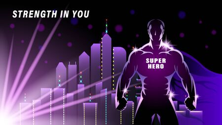 Super Hero. Silhouette Athlete, brawny man with the cloak against the city, skyscrapers. Light effect in the Night. Horizontal banner vector illustration