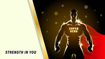 Super Hero. Silhouette gold athlete, brawny man with the red cloak on a black background. Light effect in the Night. Horizontal banner vector illustration Stock Illustratie