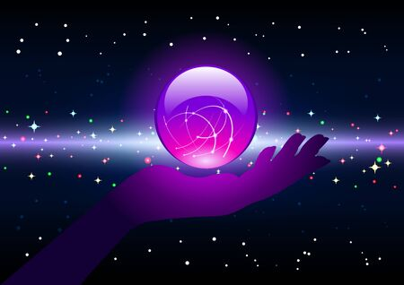 Bright purple Magic ball on the palm, hand silhouette, on a starry, galactic background. Beautiful fantastic vector Illustration