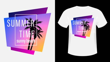 Summer time, Sunny beach print t-shirt. The slogan on the backdrop of palm trees and sunset. Beautiful vector illustration
