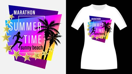 Summer time, Sunny beach print t-shirt. The slogan on the backdrop of palm trees and sunset. Marathon, Running woman profile view. Beautiful vector illustration
