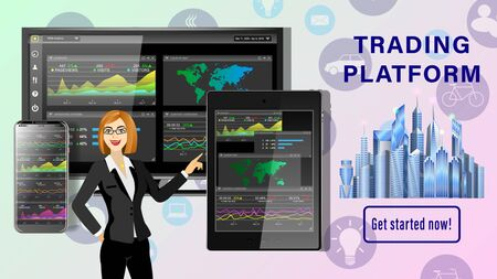 Trading platform. Financial business dashboard desktop. Application for financial analysis on PC, tablet pc, smartphone. Woman hand is pushing on the touchscreen. Realistic 3d detailed vector. Illustration