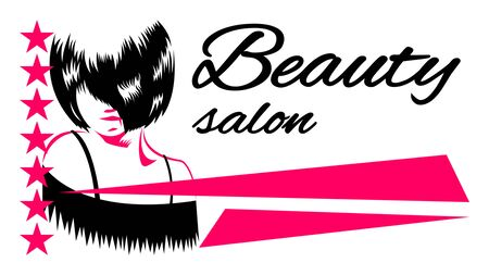 Beauty Salon inscription banner, sign. The Face with the bangs covering the eye.  Woman with hairstyle quads. Vector illustration